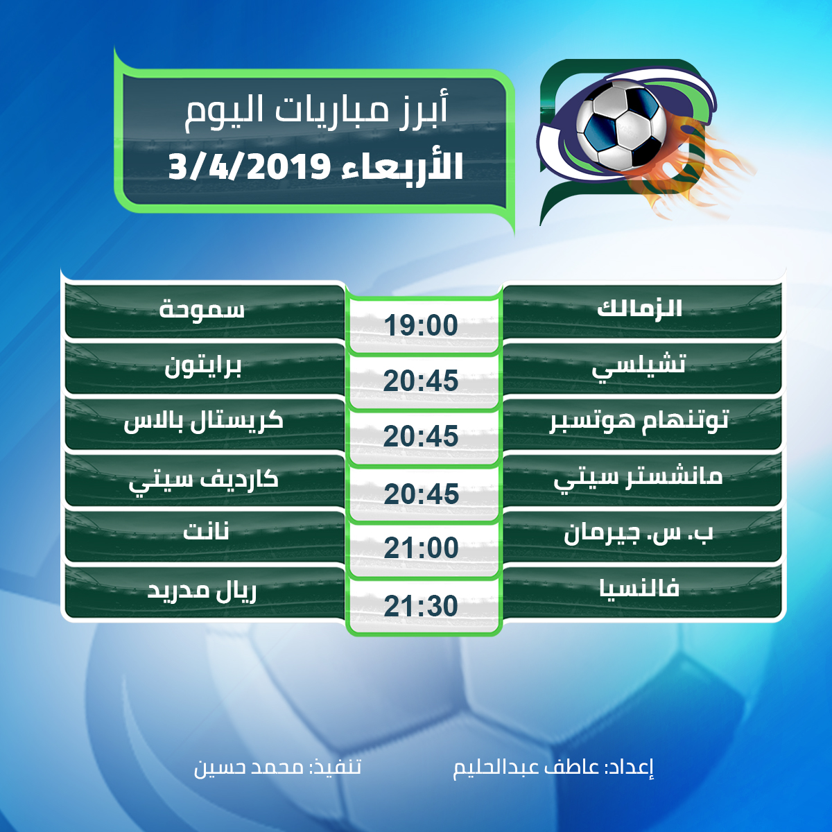 أبرز مباريات اليوم  الأربعاء 3/4/2019
