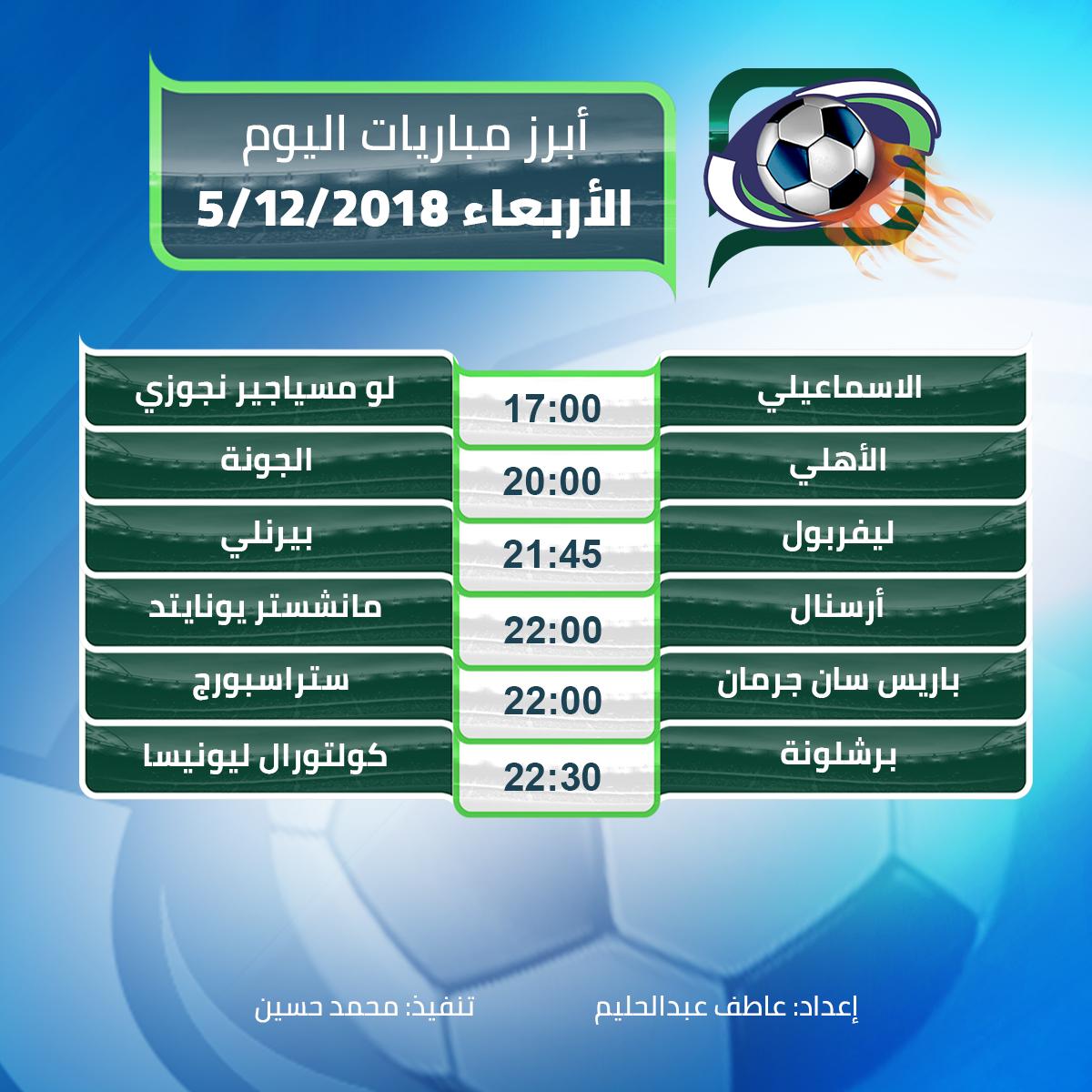 أبرز مباريات اليوم الأربعاء 05/12/2018