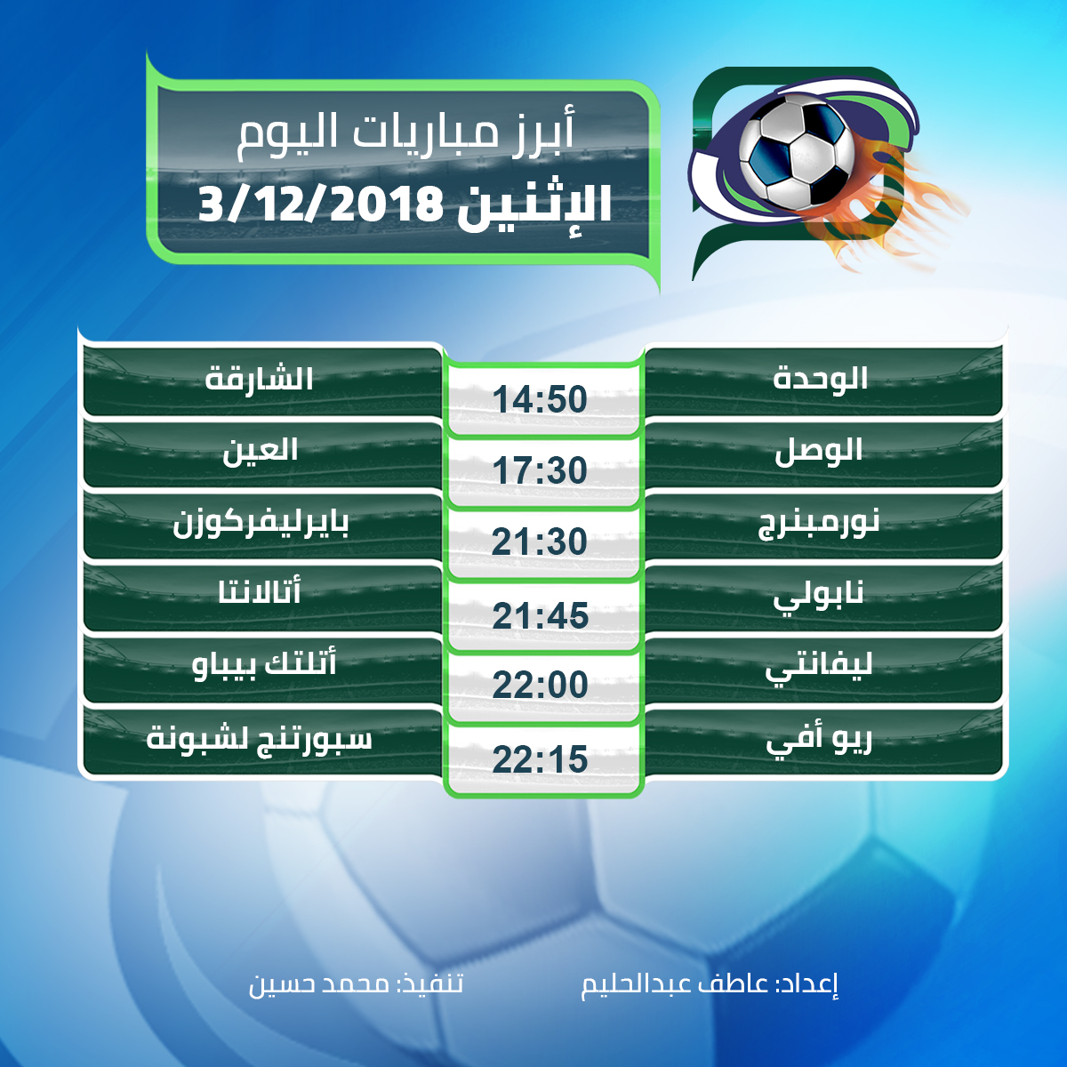أبرز مباريات اليوم الاثنين 03/12/2018