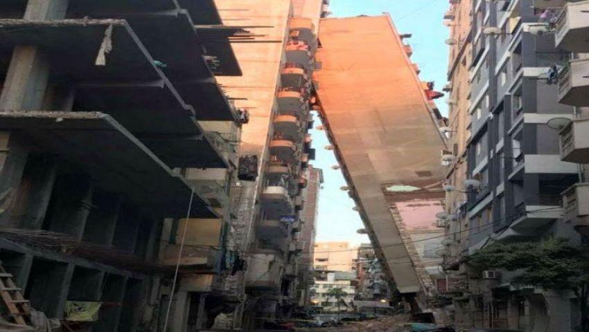 عقار مائل بالاسكندرية يهدد حياة 2000 طالبة.. والمحافظة تتدخل