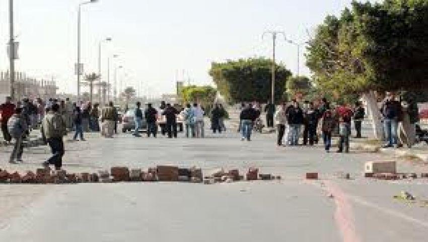 قطع طريق المحلة - المنصورة لإزالة مطبات