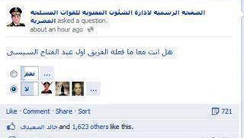 صفحات مجهولة للجيش تنشر استطلاعات مؤيدة لمرسي
