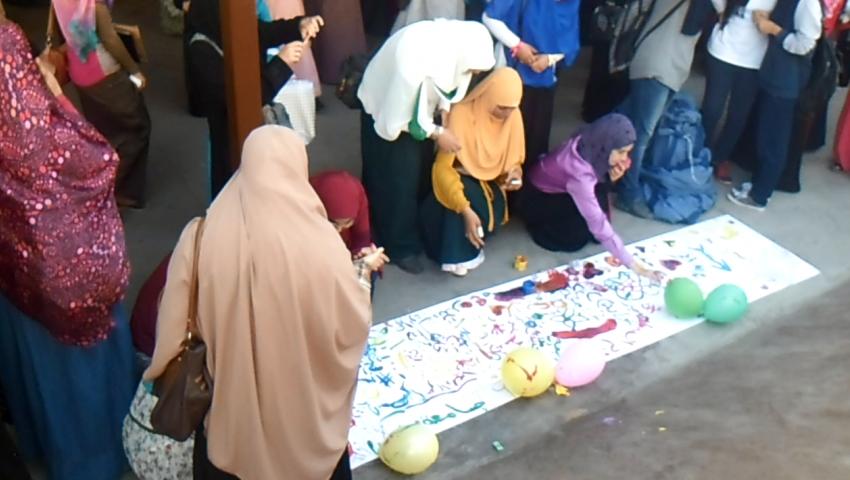 بالفيديو.. كليات الأزهر تنظم حفلة لاستقبال الطالبات الجدد