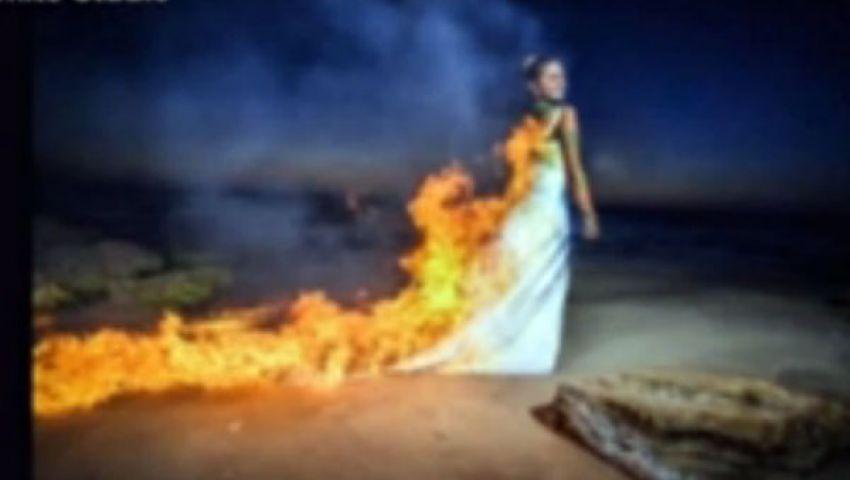 بالفيديو.. عريس يشعل النار في عروسه عمداً