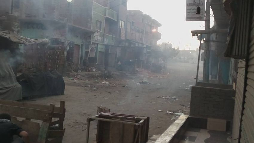 اشتباكات بين الأمن ومتظاهرين بقرية الميمون شمال بنى سويف
