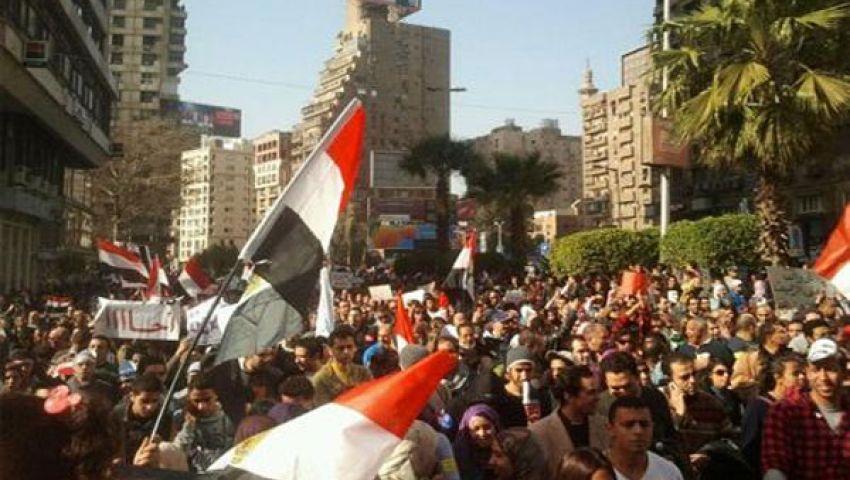 متظاهرو شبرا يرفعون لافتات ارحل يا فاشل