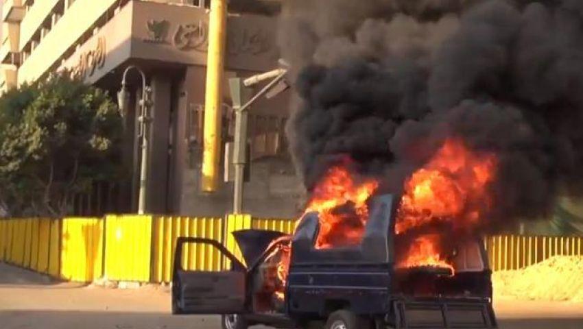 مجهولون يضرمون النار فى سيارة شرطة بالمهندسين
