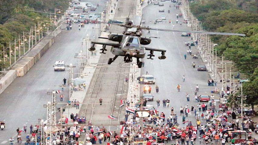 عروض بالهليكوبتر في سماء الاتحادية تلهب حماس المتظاهرين