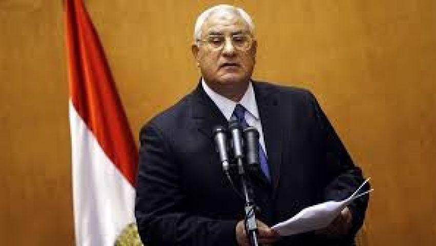 منصور: سنخوض معركة الأمن ونحافظ على الثورة حتى النهاية