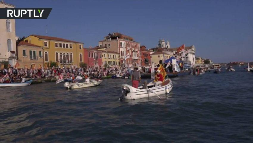 فيديو.. احتجاجات على سفن سياحية في هور البندقية