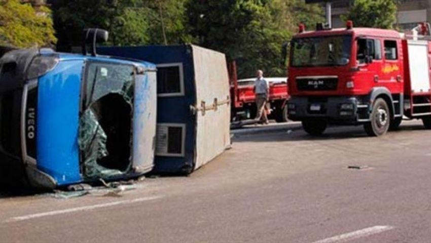 إصابة مجندين فى انقلاب سيارة ترحيلات بالإسكندرية
