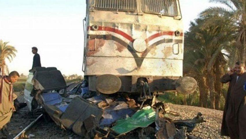 بالأسماء| قتيل و6 مصابين في تصادم قطار بسيارة نقل بمطروح