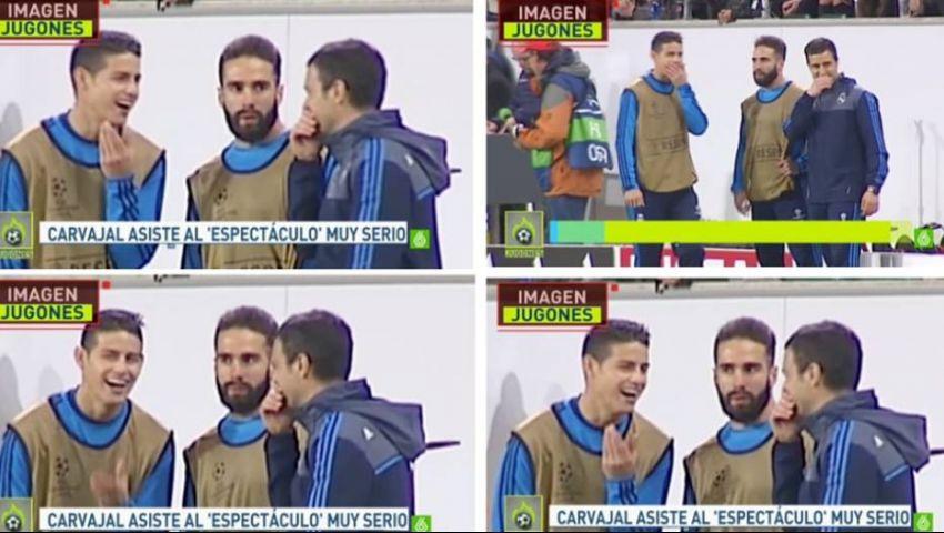 فيديو.. نوبة ضحك من جيمس تثير غضب عارم بإسبانيا