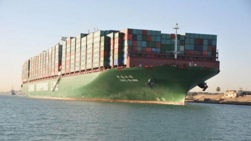 فيديو..سفينة عملاقة تعبر القناة قبل احتفالات افتتاحها