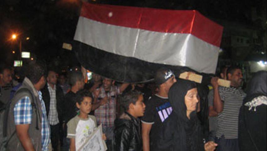 مسيرة بالنعوش بكفر الشيخ للتنديد بالإرهاب فى سيناء