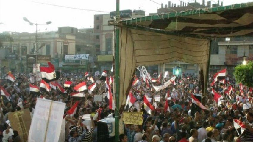 تظاهر الآلاف من مؤيدي الرئيس المعزول ببني سويف