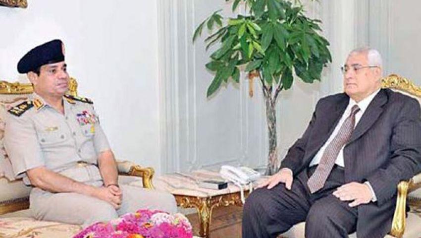 الرئيس المؤقت يجتمع بالسيسي وإبراهيم