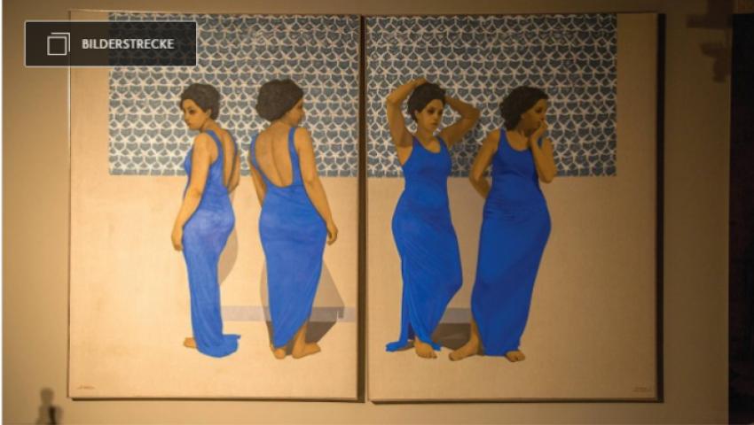 عن دور المرأة قبل ألف عام.. لوحات تثير الجدل في معرض الفن بالقاهرة