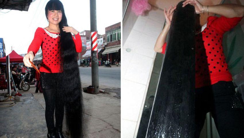 امرأة صينية يبلغ طول شعرها 7 أقدام