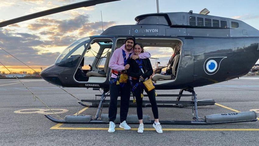 فيديو  بطائرة هليكوبتر.. حفيد مبارك يحتفل بالفلانتين مع صديقته