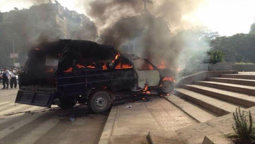 مجهولون يشعلون سيارة أمين شرطة في المنيا