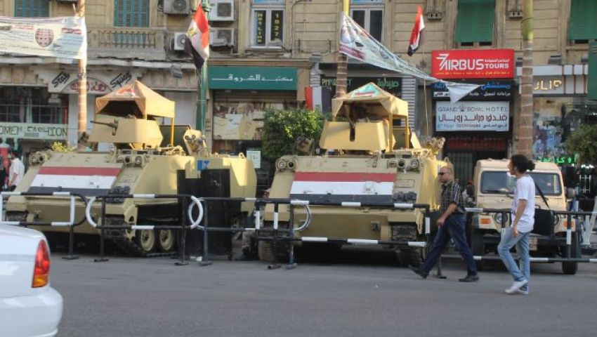 بالصور . طلعت حرب ثكنة عسكرية تحسبا لتظاهرات أحرار و6 إبريل