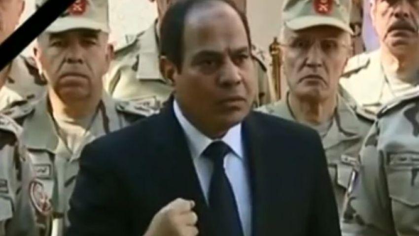 فيديو.. انفعال السيسي بعد سقوط شهداء سيناء