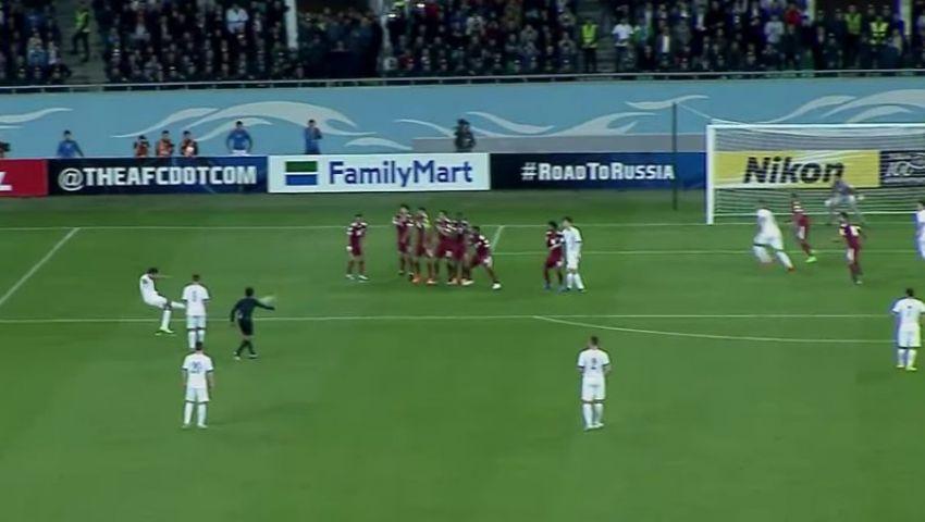 بالفيديو  أوزبكستان تفوز على قطر بهدف أحمدوف