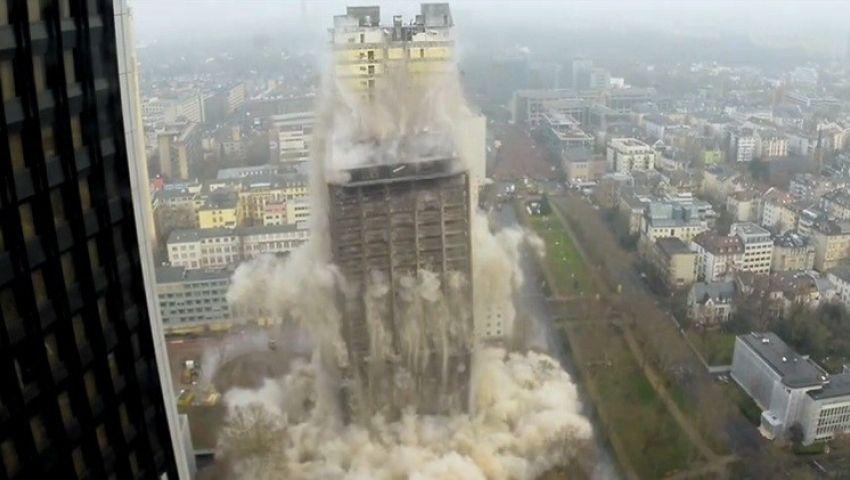 فيديو.. تفجير أعلى مبنى جامعي فى أوروبا
