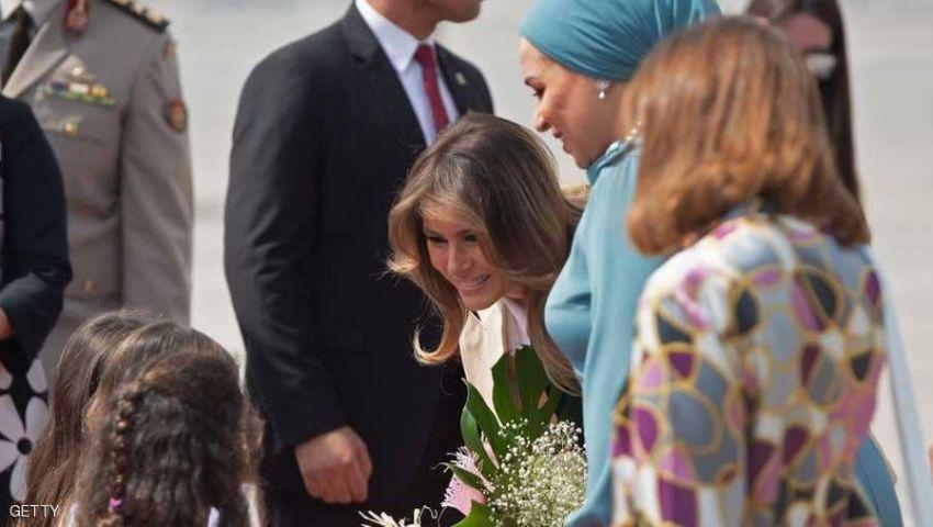 انتصار السيسي تستقبل نظيرتها الأمريكية ميلانيا ترامب في القاهرة