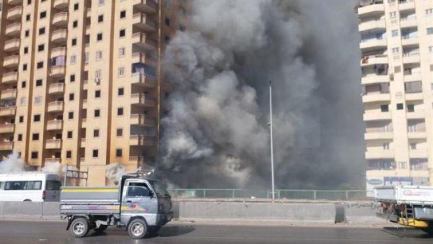المبنى آيل للسقوط.. حريق عقار مصنع الأحذية خطر يهدد الطريق الدائري