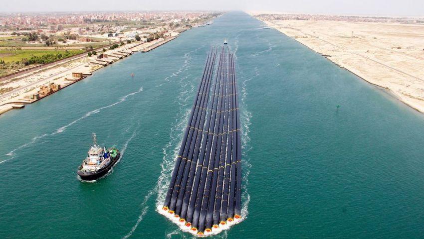 لأول مرة.. 12 ماسورة عملاقة بطول 620 مترا تعبر قناة السويس