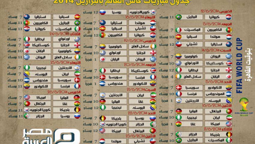 جدول مباريات كأس العالم بتوقيت القاهرة مصر العربية