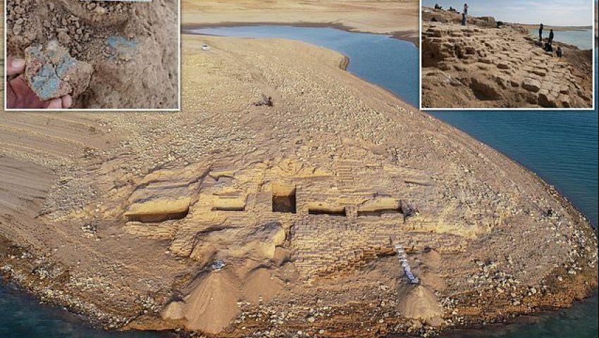 بالفيديو| انحسار مياه نهر دجلة تكشف عن قصر أثري بالعراق