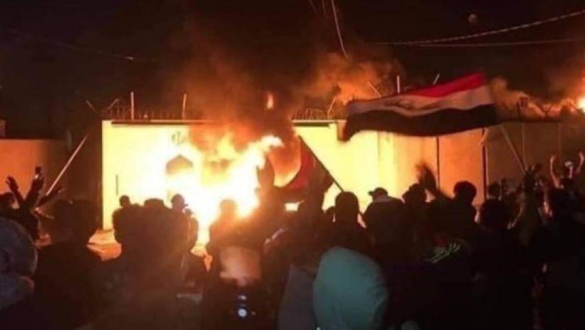 العراق.. حرق القنصلية الإيرانية في النجف مجددًا