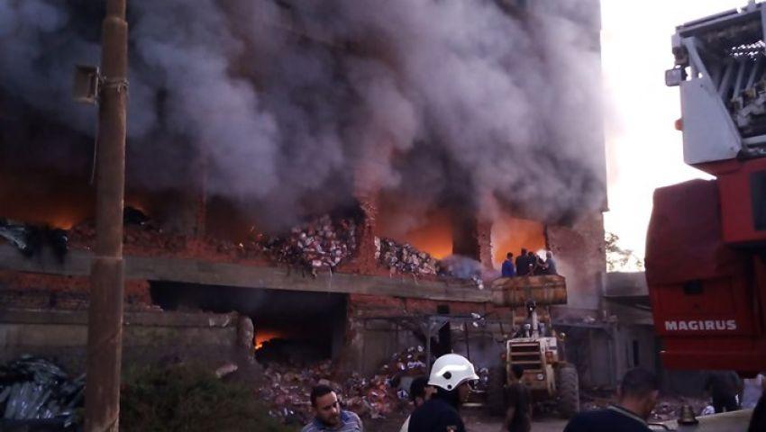 فيديو| استمر 10 ساعات.. مليار جنيه خسائر حريق مصنع قليوب