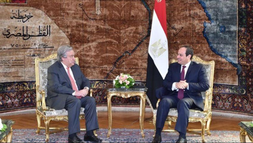 السيسي لجوتيريش: حريصون على التوصل لتسويات سياسية لأزمات المنطقة