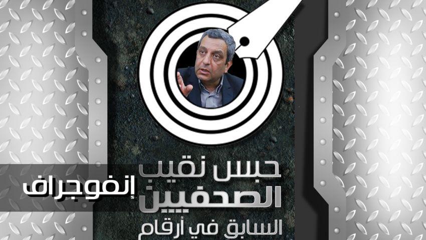 بالإنفوجراف| حبس نقيب الصحفيين السابق في أرقام