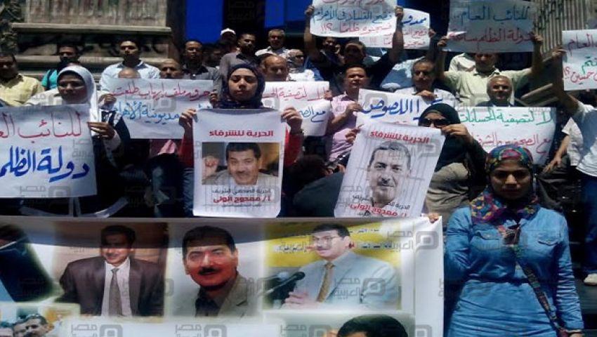 بالصور.. الصحفيون يتظاهرون ضد حبس ممدوح الولي