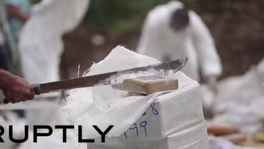 فيديو.. بنما تحرق 6 أطنان كوكايين