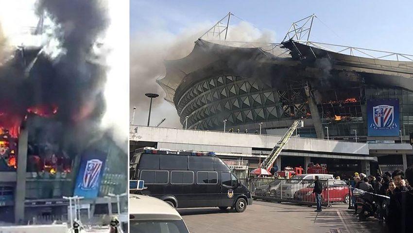 بالصور| حريق في ملعب شنجهاي شينهوا الصيني