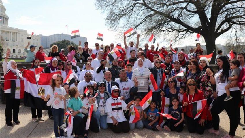 صور| بالإعلام والهتافات.. هكذا استقبلت الجالية المصرية بأمريكا السيسي