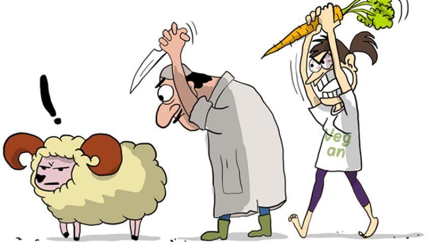 كاريكاتير : بماذا يضحي النباتيون؟