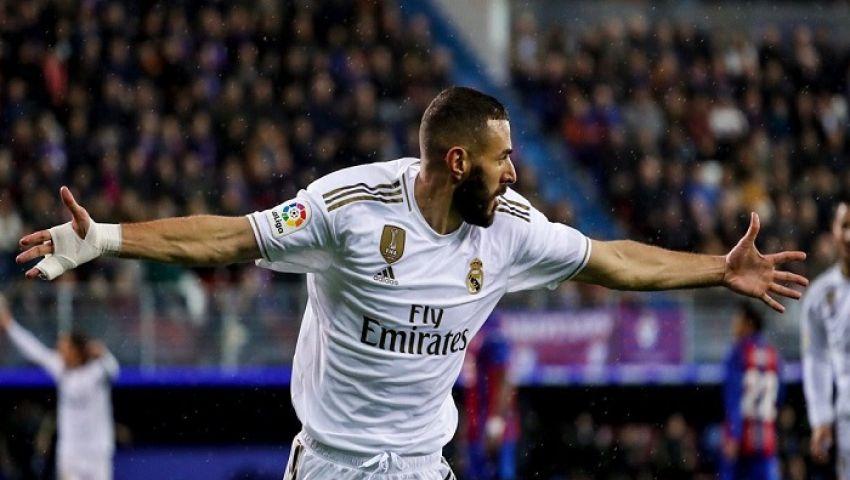 فيديو| بنزيما يتربع على صدارة قائمة هدافي الدوري الإسباني