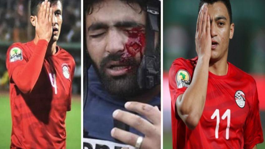 فيديو  لاعبو منتخب مصر يتضامنون مع الصحفي الفلسطيني معاذ عمارنة