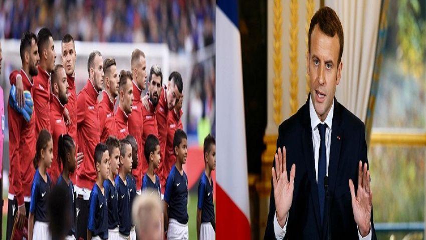 النشيد الوطني يتسبب في أزمة خلال مباراة فرنسا وألبانيا بتصفيات اليورو.. وماكرون يتدخل