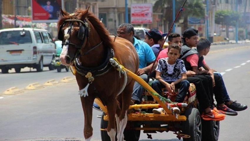 صور| كارو وتروسيكل.. فسحة الغلابة ورزق السائقين في عيد الفطر بالإسكندرية