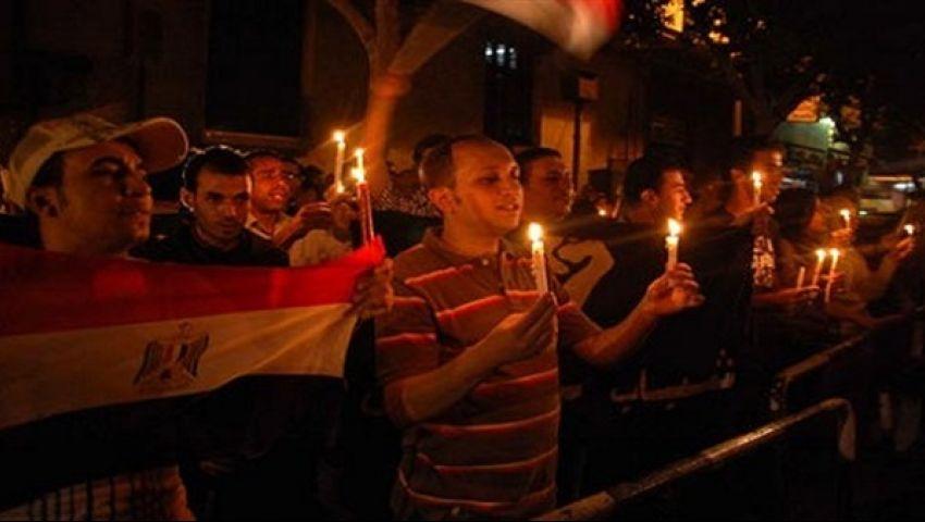 وقفة بالشموع أمام الإنتاج الإعلامي لتأبين ضحايا الكنيستين
