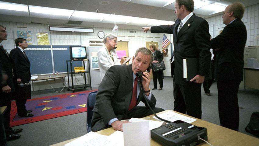 بالصور| هكذا تلقى بوش الابن نبأ هجمات 11 سبتمبر