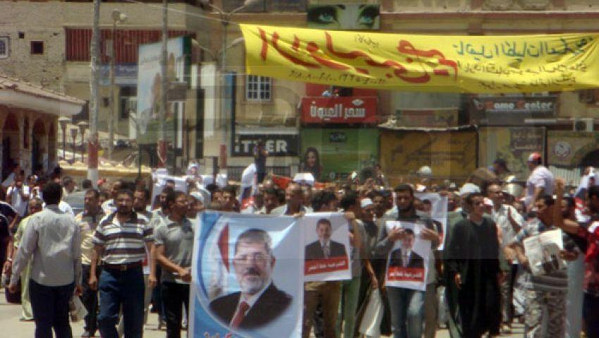 زغاريد تستقبل مؤيدي مرسي ببني سويف